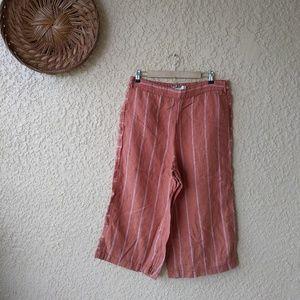 Anthropologie   crop wide leg linen pants